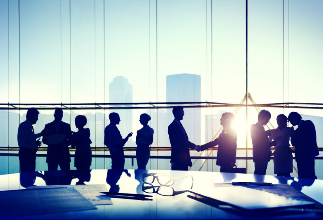Silhouettes of Business People Working